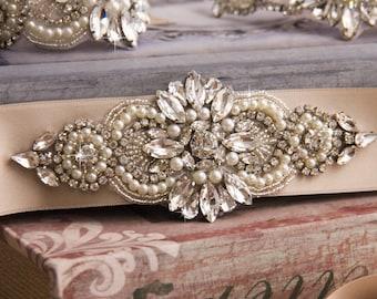Bridal sash, Silver Wedding Sash Belt, Wedding Sash, Bridal Sash Belt, Champagne Wedding Belt, Crystal bridal sash belt