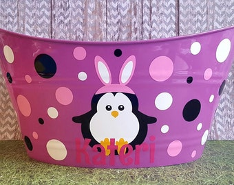 Easter Basket, Personalized Plastic Oval Easter Penguin Bunny Tub