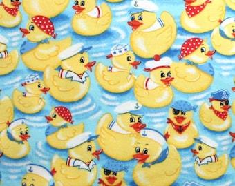 Ducks on Blue Snuggle Flannel Fabric - One Yard - Flannel Fabric by the Yard