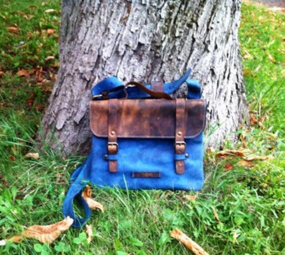 Leather Blue Messenger Bag, Blue little briefcase,  Office Bag, Shoulder bag, Tote Bag, Leather Pouch, Brown Leather Bag