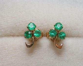 Dainty Vintage 18K Emerald Three Leaf Clover Earrings