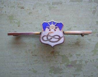 A Vintage Enamel & Silver Pin/Brooch - Snake + Sun Motif.