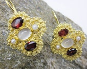 Filigree Chalcedony, Garnet & Pearl Earrings, Vintage 24K on Sterling, Moonstone, Dangle Lever Backs, ca.1990.