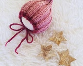 Pink baby girl bonnet newborn 3 6 9 12 24 months sitter photography prop - rose pink cerise ribbed elf bonnet hood - hand knit wool mix