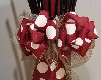 Polka dot and burlap bow multi purpose bow for lantern/gift/mailbox/wreath/party/craft
