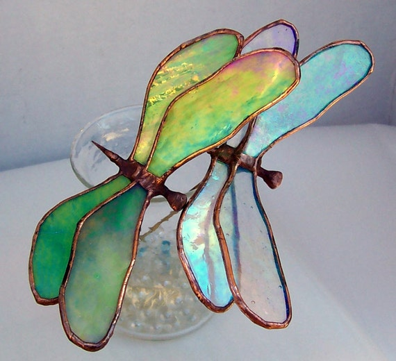 2 Stained Glass Dragonflies, Iridescent Glass Dragonfly Plant Stakes, Garden Art, Home Decor, Glass Insect, gift