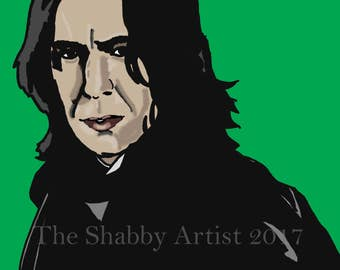 Alan Rickman Artwork Portrait Harry Potter A5 Print