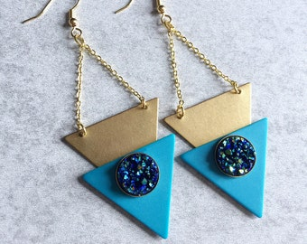 Geometric Druzy Earrings - Vintage Acrylic Aqua Blue Triangles, Hammered Brass Shapes, Gold Chain, Sparkly Stone Cabochons, French Hooks