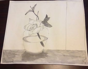 Single rose in vase pen and ink