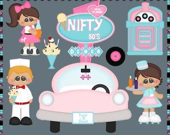 Nifty 50's. Rock N Roll. Sock Hop, Oldies Party - Instant Download - Commercial Use Digital Clipart Elements Graphics Set