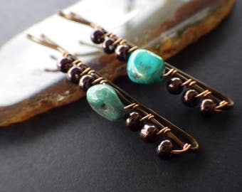 Turquoise Nuggets- Brown Glass- Beaded Bobby Pins- Fall Hair Style- Accessory for Dark Hair Colors- Gift Idea for Her- Women- Teen Girls