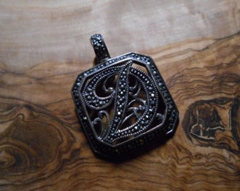 Vintage Marcasite Sterling Silver Initial Letter D Pendant
