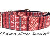 Martingale Dog Collar, Dog Collar, Adjustable Dog Collar, Custom Dog Collar, Christmas, Winter, Warm Winter Sweater
