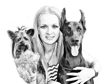 Custom Family Portrait - Digital Portrait from photo - Sketch from Photo - Digital sketch - People and Pet Art - Dog sketch