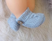 Knit baby booties, baby coming home outfit, baby boy coming home outfit, bamboo baby booties gender taking home outfit, new baby gift