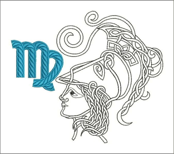 Zodiac sign virgo machine embroidery design  quot and