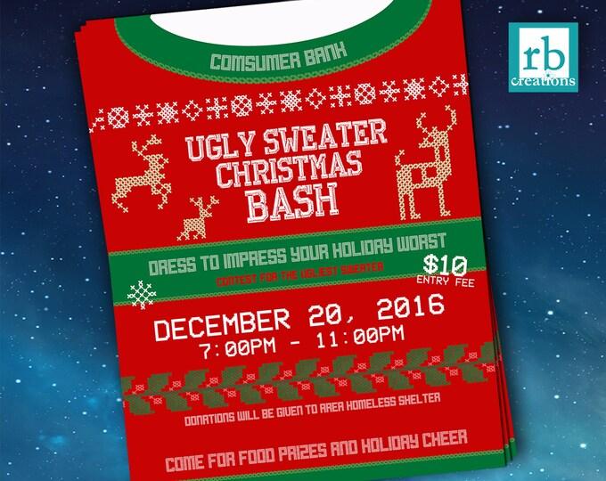 Event Flyer, Ugly Sweater Flyer, Christmas Flyer, Ugly Sweater Party Flyer, Holiday Flyer, Company Flyer Design - Digital Printables