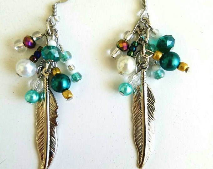 Blue Teal Green White Feather Cluster Silver Earrings