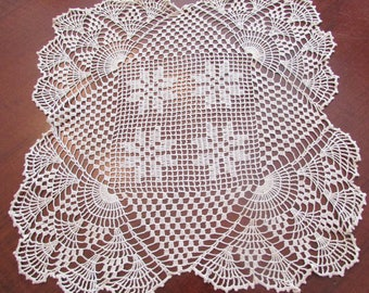 Lovely Crochet Scalloped Square  Doilie