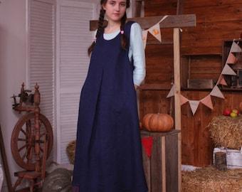 Sleeveless Dress, Dark blue dress, Linen Sundress, Winter sundress, Trapeze dress, Natural linen, Long dress, Size plus, flax dress