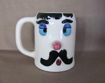 Vintage Cockeyed Charlie Mug, 1940's Muggsy, Ceramic Mug, Coffee Cup, Funny, Humerous, Mid Century Decor