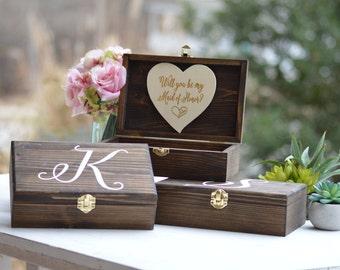 Will You Be My Bridesmaid Gift Box, Personalized Bridesmaid Box, Maid Of Honor, Flower Girl Gift, Wood Box, Keepsake Bridal Gift (B101)