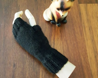 Warm black gloves - womens fingerless gloves - handmade extra long gloves - black winter mittens