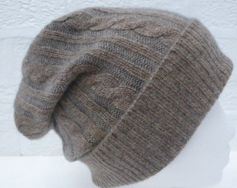 Cable slouchy hat light grey brown headwear small size beanie Eco-friendly warm accessory soft knitwear headcover cosy medium winter hat.