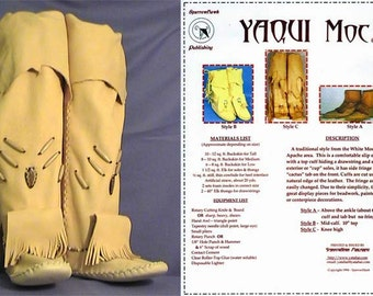 Native American Yaqui Indian Moccasin Sewing Pattern in 3 Traditional Styles by  SparrowHawk