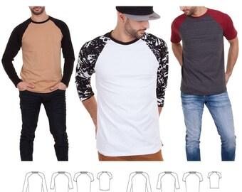 Jalie 3669 Nico Men's & Boys' Raglan Tee Shirt Short, 3/4 and Long Sleeves Sewing Pattern