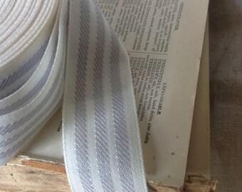 25 yard roll of grey and cream striped ribbon