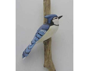 Blue Jay - right facing. Handcrafted, carved  wooden bird, painted bird, home decor, wall decor, Made in USA
