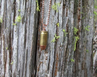 Bullet Necklace, Ammo Necklace, Bullet Casing Necklace, .45 Auto Bullet Necklace