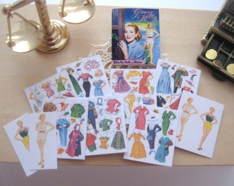 dollhouse Grace Kelly  paper doll book miniature 12th scale vintage