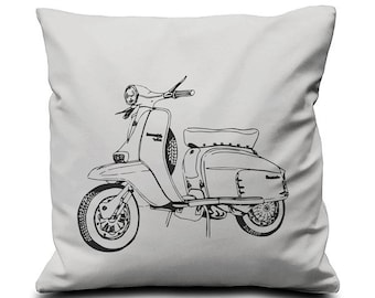 Screen Printed Cushion Pillow Cover -Vespa - One Cover 100% Cotton