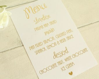 Personalised Wedding Menu/ Wedding Breakfast for Wedding Reception  in Gold / Silver/ Rose Gold/Champagne Gold/Colour Foils