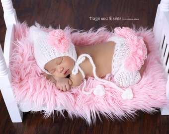 SALE! Newborn, Baby girl, Baby girl set, Newborn knit hat, Knit pants, Knit hat, Photo prop, Newborn girl , Girl set,Pink