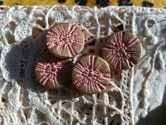 4 Vintage Gold and Pink Buttons French Shank Buttons #sophieladydeparis