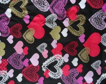 Hearts on Black Steering Wheel Cover