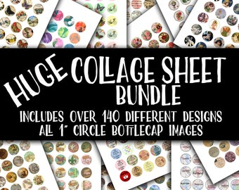 "SALE - HUGE Collage Sheet Bundle-Includes All of my 1"" Round Circle BottleCap Designs-Over 140 Different Collage Sheets-Commercial Use"