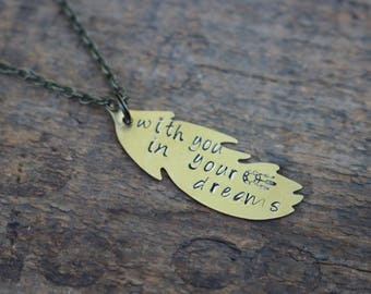 With You in Your Dreams - Hanson Lyric Feather Brass Necklace
