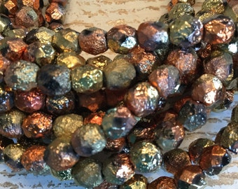6mm california gold etched round fire polished beads, gold, copper, black faceted etched czech glass beads