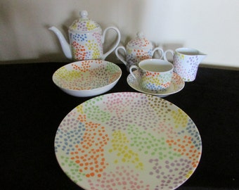 Fitz & Floyd Confetti Dish Dining Serving Ware Set 7 Pieces