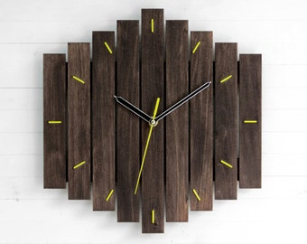 Yellow Wall Clock, Wooden Wall Clock, Contemporary Decor, Romb Clock, Big Clock, Kitchen Wall Clock, Fathers Day Gift, Wall Decor