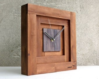 Brown Wall Clock, Large Wall Clock, Square Clock, Wooden Clock, Rustic Home Decor, Retro Clock, Antique Decor, Mid Century Decor