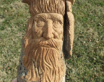Mountain Man Cottonwood Bark Carving Hand Carved in Missouri Original One of a Kind