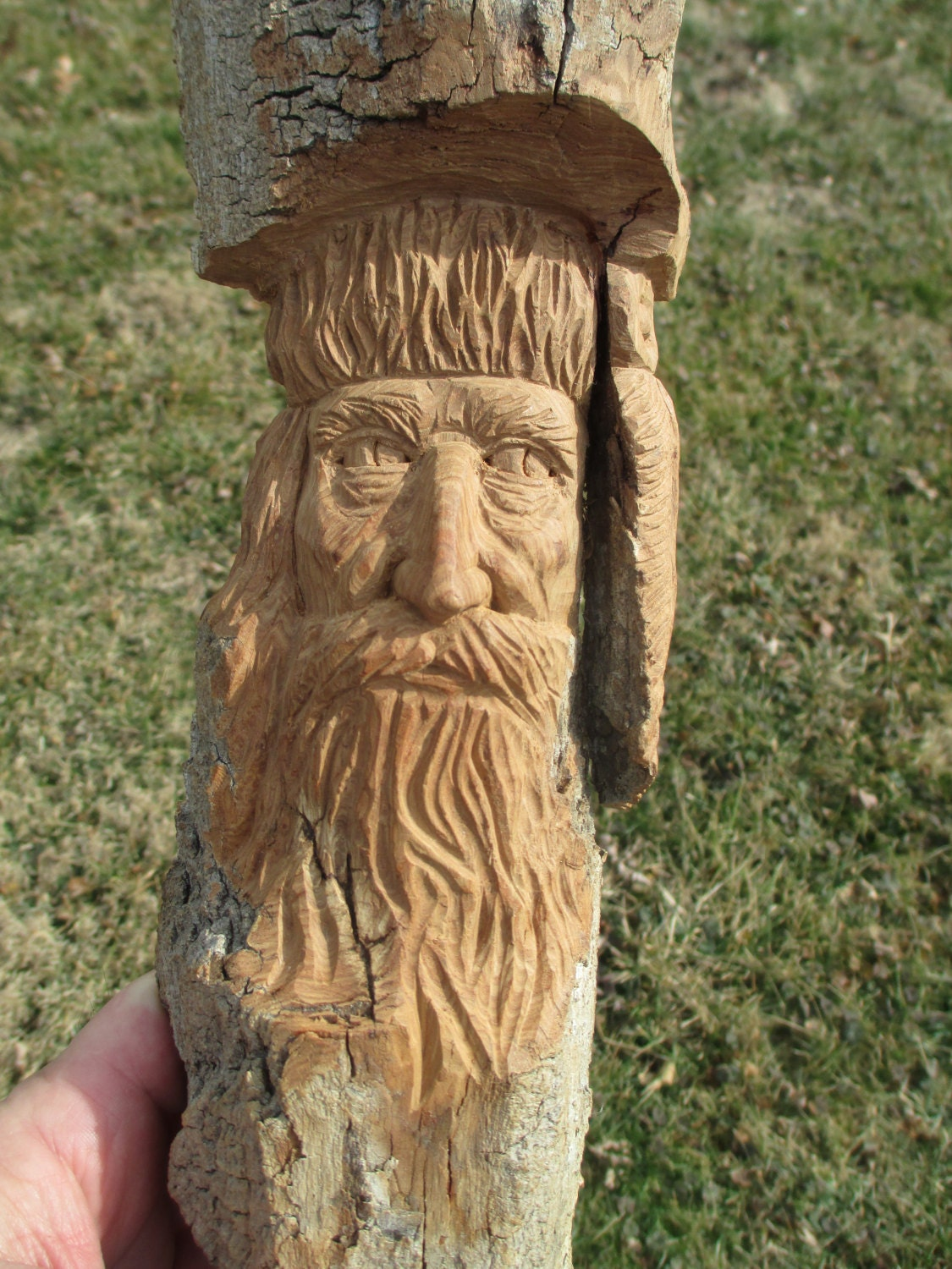 Mountain man cottonwood bark carving hand carved in missouri