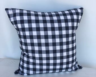 Navy blue plaid pillow cover