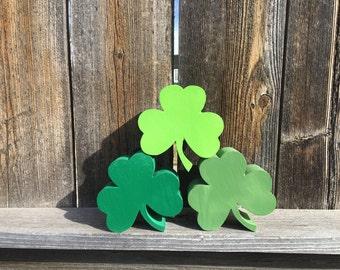 St. Patrick's day wood shamrocks-clovers