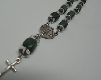 Green square Stone Barb Chaplet Bracelet with Silver Mary Pendent and cross (BRB10)